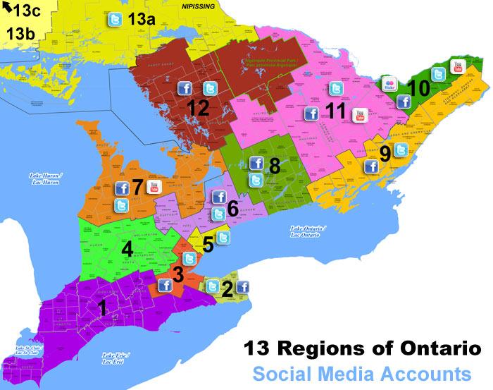 13 Ontario Tourism Regions Social Media