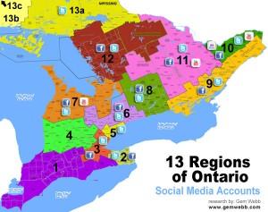 Ontario Tourism Regions Social Media map