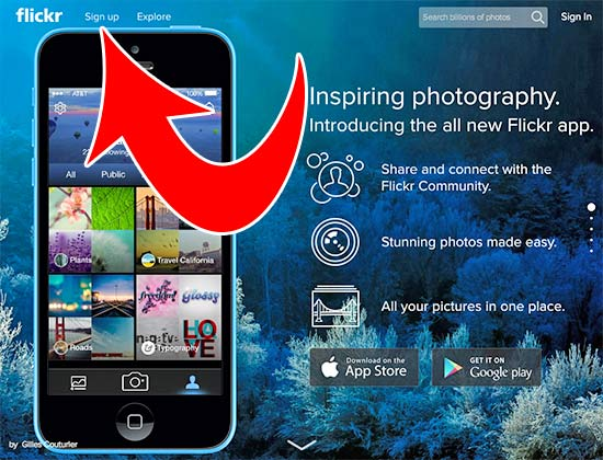 Flickr Sign up example