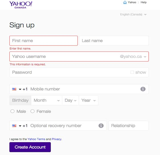 flickr yahoo email signup