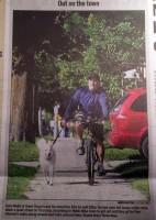 Owen Sound Sun Times Newspaper Photo of Bike Ride with Dog