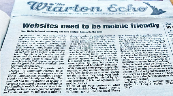 Wiarton Echo Published Article