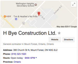 HBYE CONSTRUCTION Google Busienss listing