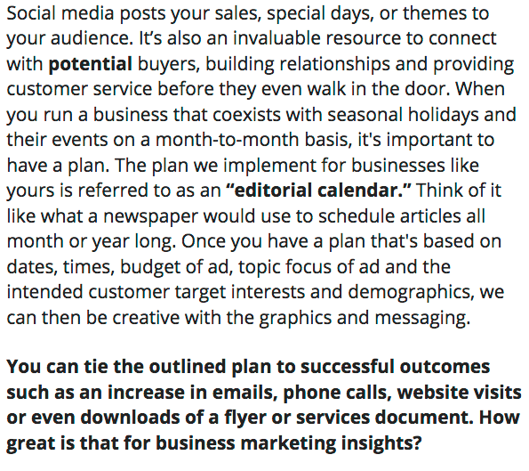 About facebook posting service