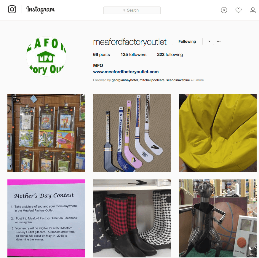Meaford Factory Outlet Instagram