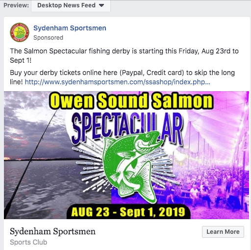 Salmon Spectacular facebook ad