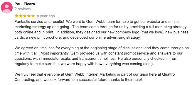 ontario marketing agency testimonial